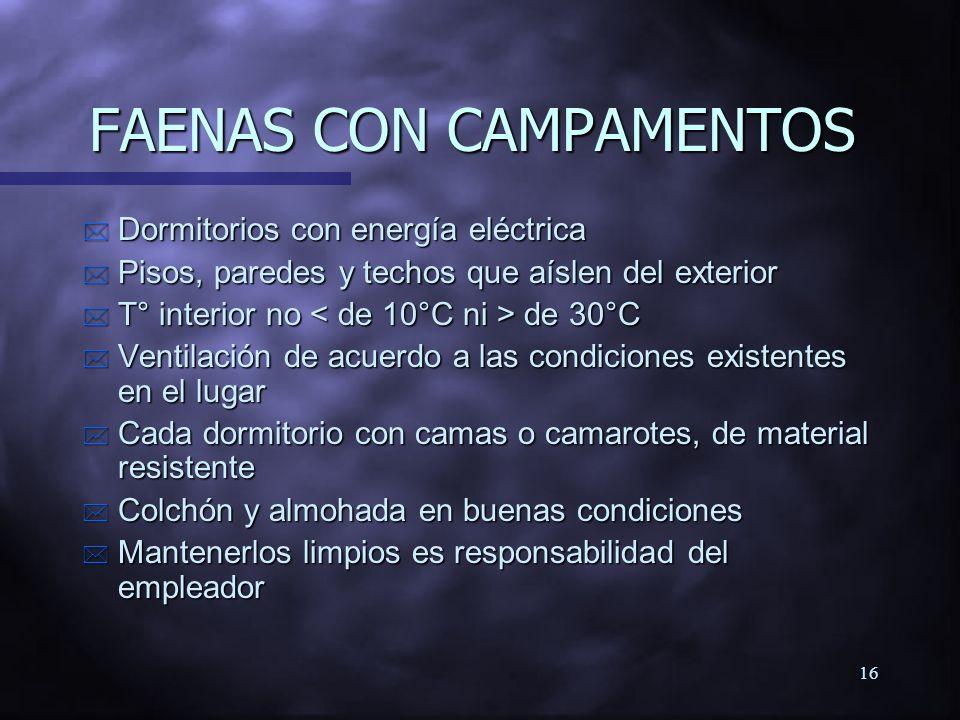 FAENAS CON CAMPAMENTOS