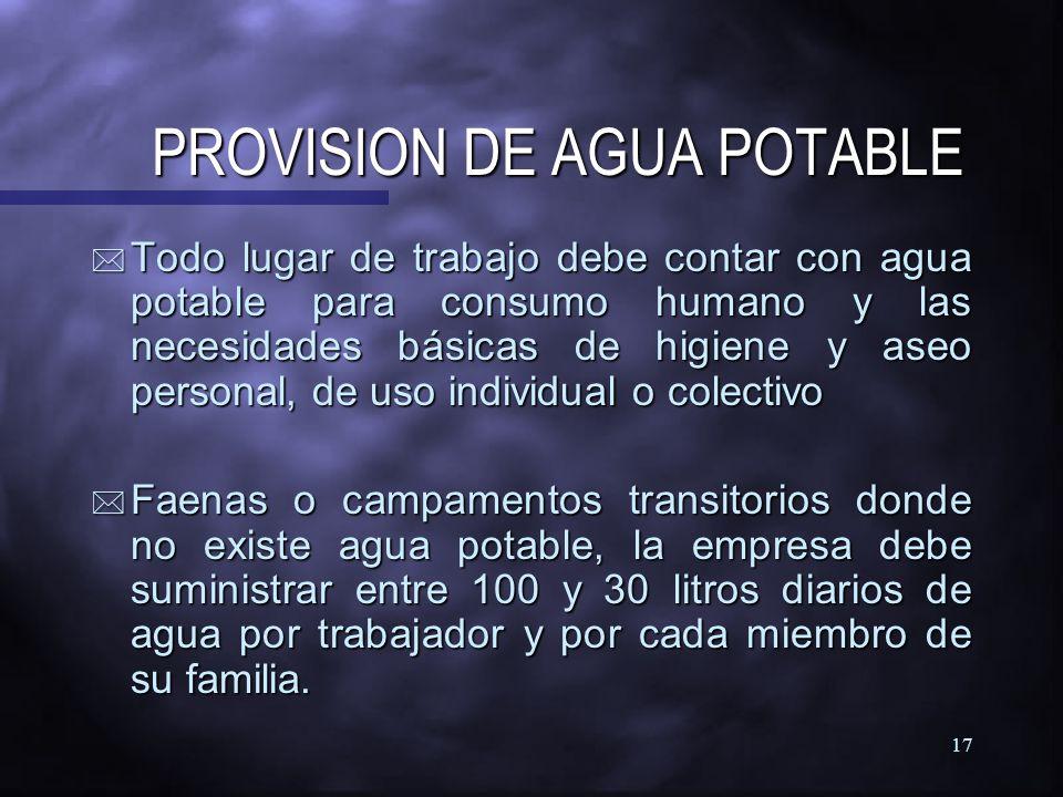 PROVISION DE AGUA POTABLE