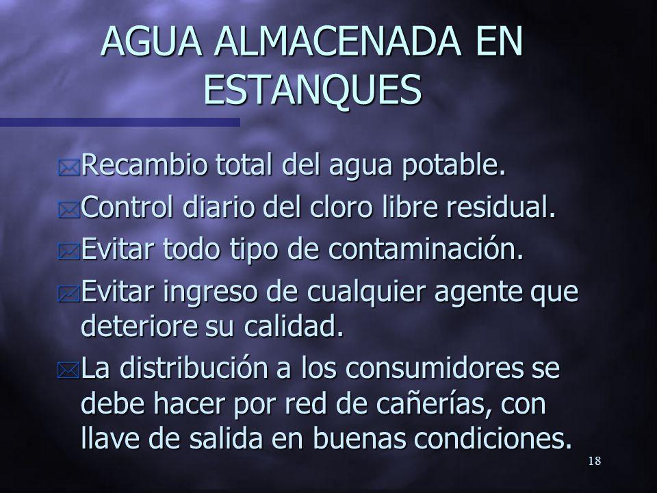 AGUA ALMACENADA EN ESTANQUES