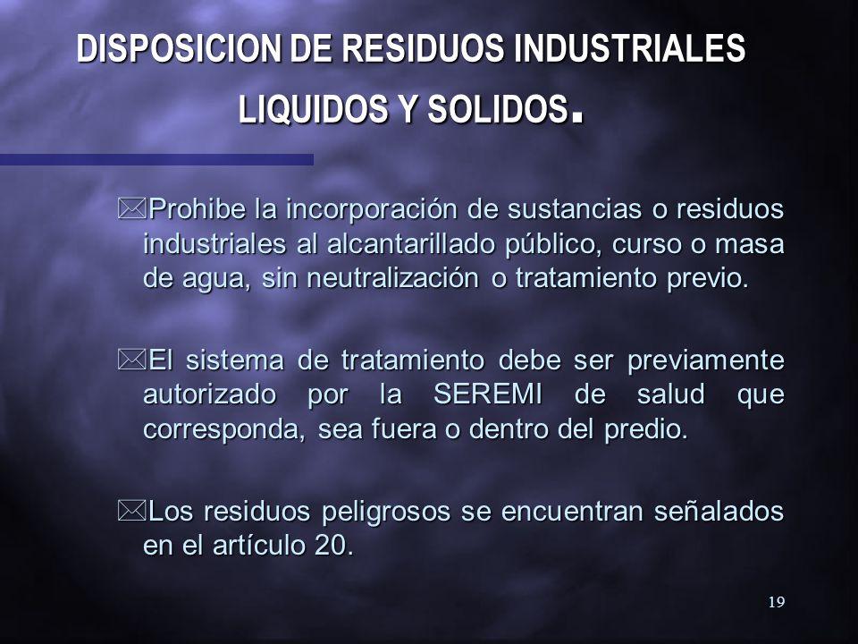 DISPOSICION DE RESIDUOS INDUSTRIALES LIQUIDOS Y SOLIDOS.