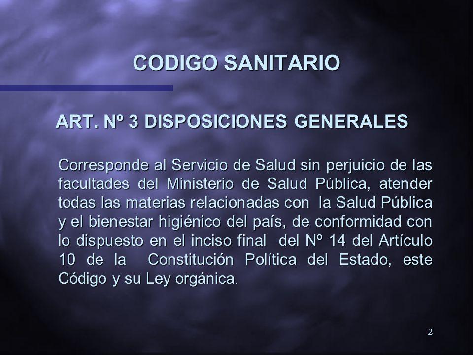 CODIGO SANITARIO ART. Nº 3 DISPOSICIONES GENERALES