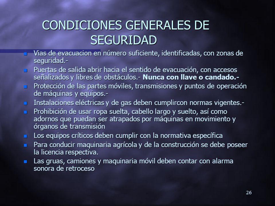 CONDICIONES GENERALES DE SEGURIDAD