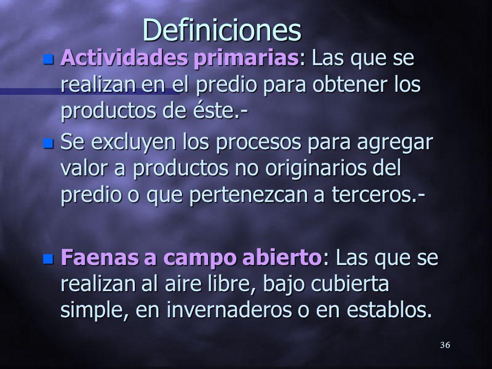 Definiciones Actividades primarias: Las que se realizan en el predio para obtener los productos de éste.-