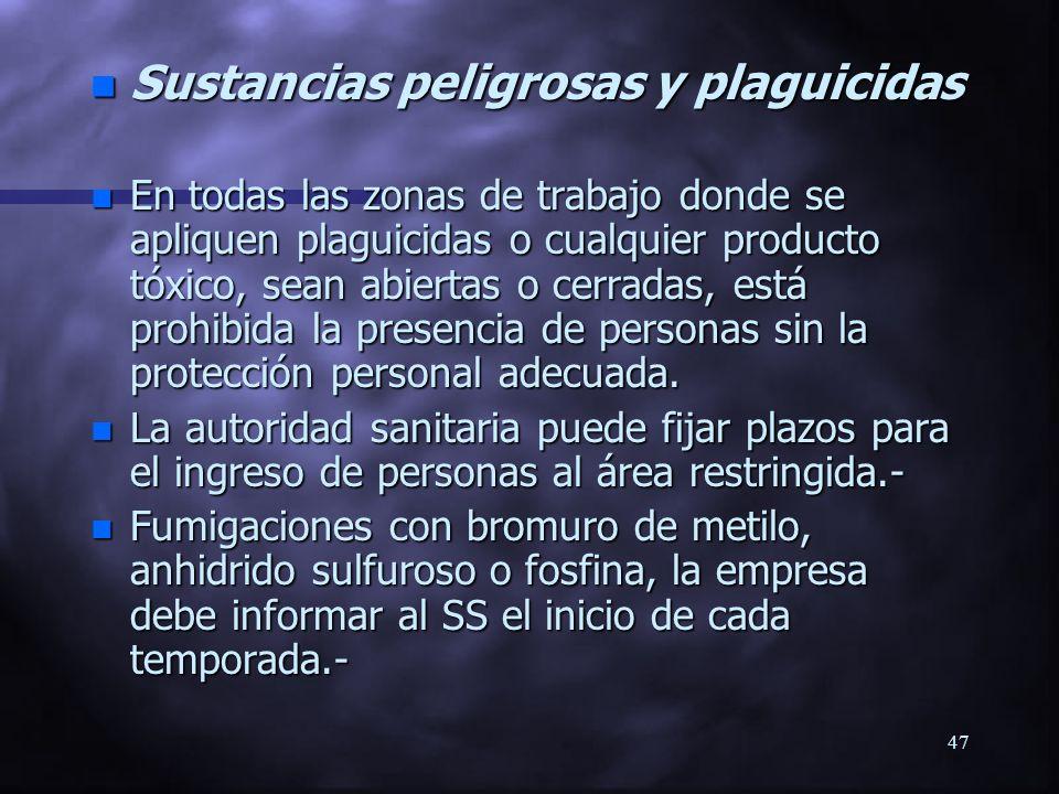 Sustancias peligrosas y plaguicidas