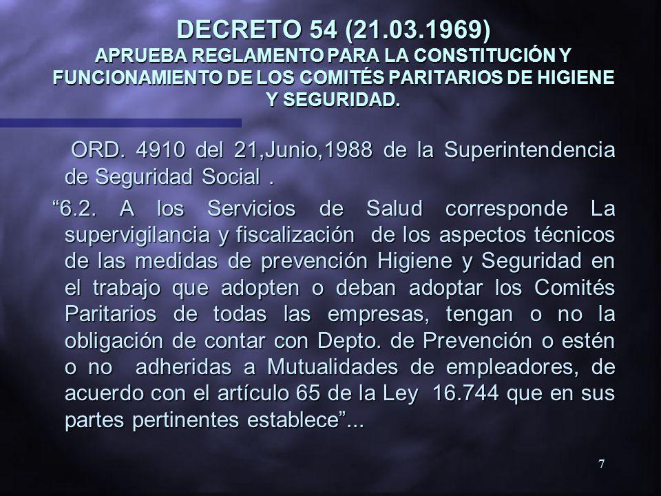 DECRETO 54 (21.03.1969) APRUEBA REGLAMENTO PARA LA CONSTITUCIÓN Y FUNCIONAMIENTO DE LOS COMITÉS PARITARIOS DE HIGIENE Y SEGURIDAD.