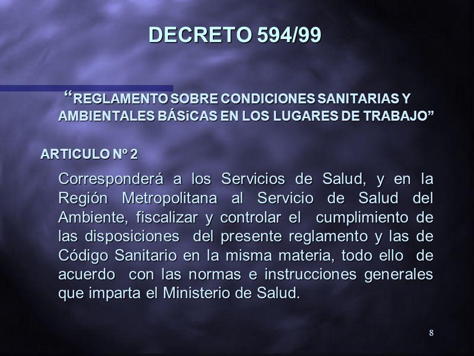 DECRETO 594/99 REGLAMENTO SOBRE CONDICIONES SANITARIAS Y AMBIENTALES BÁSiCAS EN LOS LUGARES DE TRABAJO