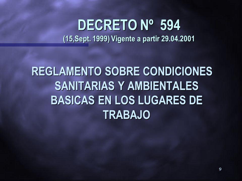 DECRETO Nº 594 (15,Sept. 1999) Vigente a partir 29.04.2001