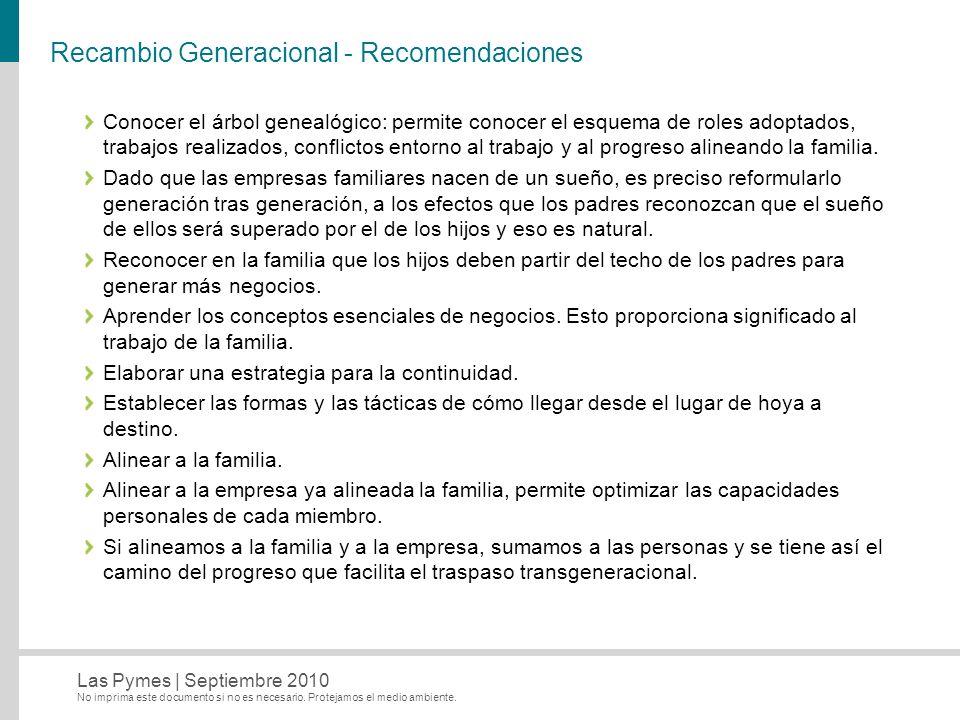 Recambio Generacional - Recomendaciones