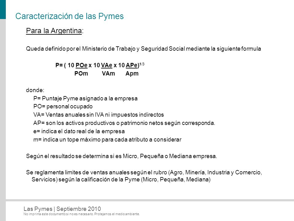 Caracterización de las Pymes