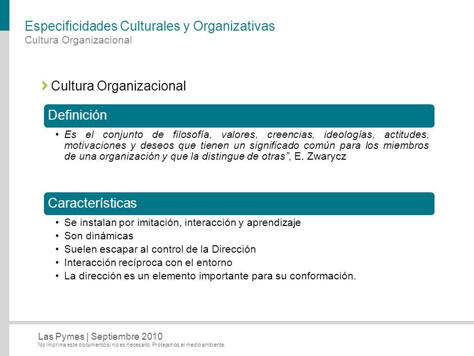 Especificidades Culturales y Organizativas
