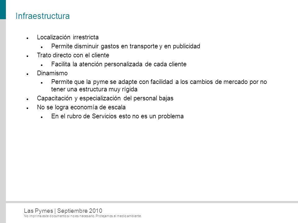 Infraestructura Localización irrestricta
