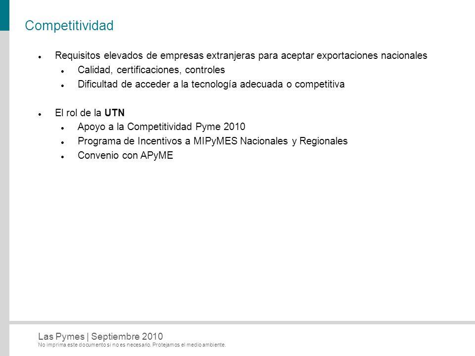 Competitividad Requisitos elevados de empresas extranjeras para aceptar exportaciones nacionales. Calidad, certificaciones, controles.