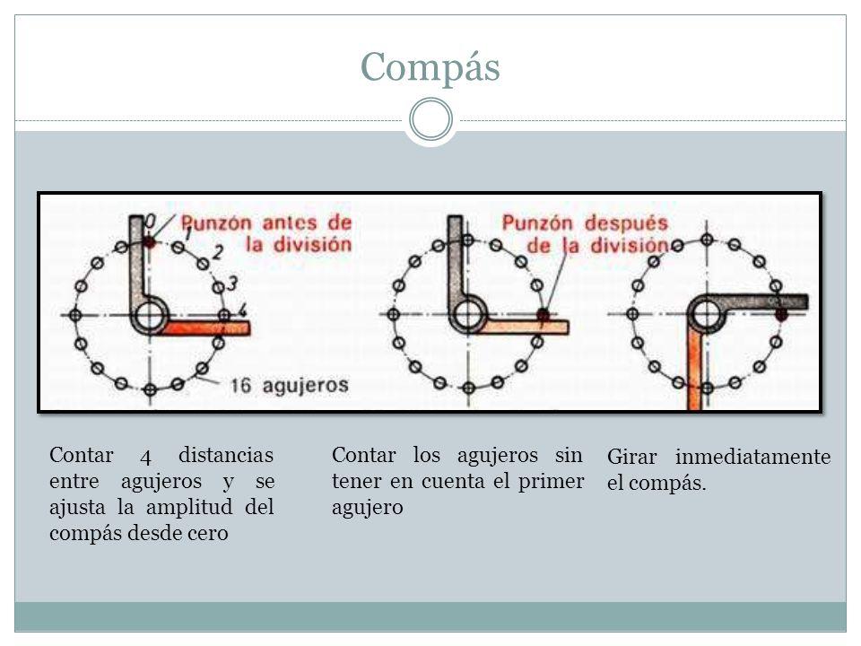 Compás Contar 4 distancias entre agujeros y se ajusta la amplitud del compás desde cero. Contar los agujeros sin tener en cuenta el primer agujero.