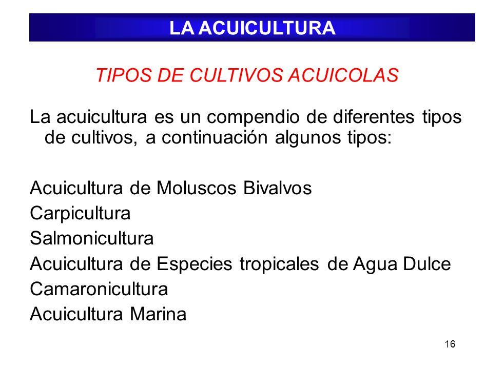 TIPOS DE CULTIVOS ACUICOLAS