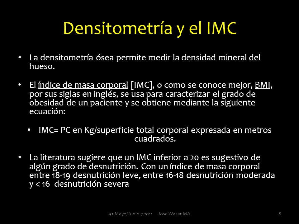 Densitometría y el IMC La densitometría ósea permite medir la densidad mineral del hueso.