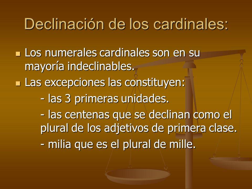 Declinación de los cardinales: