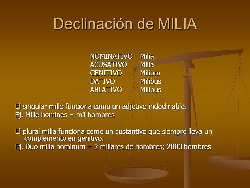 Declinación de MILIA NOMINATIVO Milia ACUSATIVO Milia GENITIVO Milium