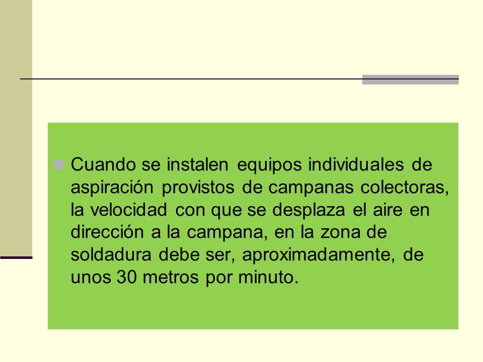 Cuando se instalen equipos individuales de aspiración provistos de campanas colectoras, la velocidad con que se desplaza el aire en dirección a la campana, en la zona de soldadura debe ser, aproximadamente, de unos 30 metros por minuto.