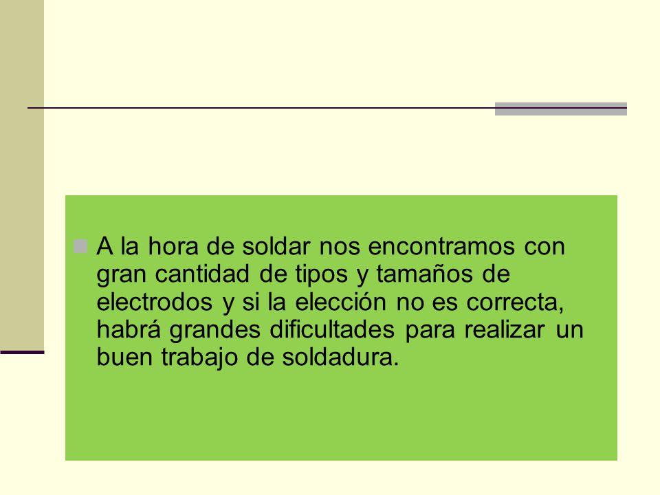 A la hora de soldar nos encontramos con gran cantidad de tipos y tamaños de electrodos y si la elección no es correcta, habrá grandes dificultades para realizar un buen trabajo de soldadura.