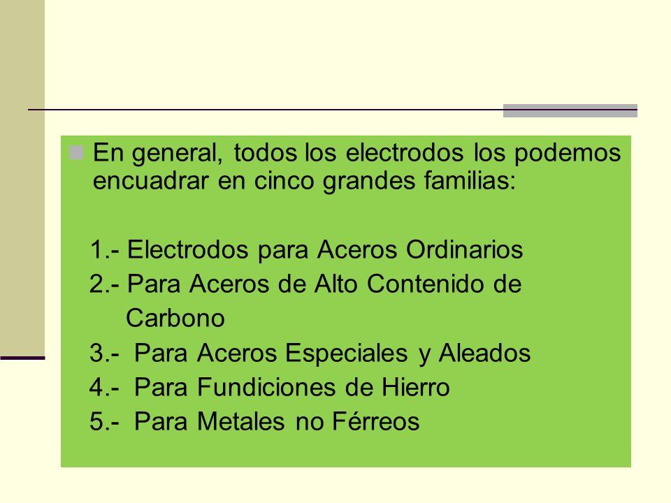 En general, todos los electrodos los podemos encuadrar en cinco grandes familias: