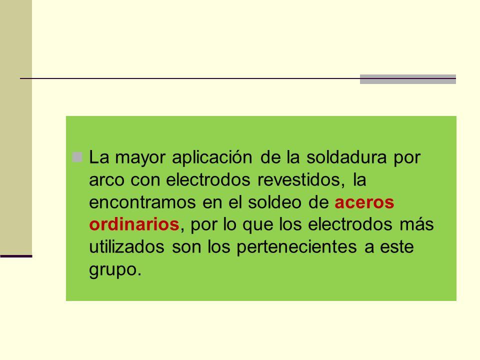 La mayor aplicación de la soldadura por arco con electrodos revestidos, la encontramos en el soldeo de aceros ordinarios, por lo que los electrodos más utilizados son los pertenecientes a este grupo.