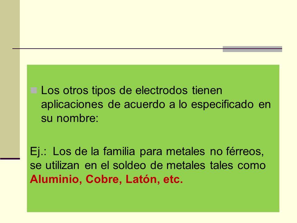 Los otros tipos de electrodos tienen aplicaciones de acuerdo a lo especificado en su nombre: