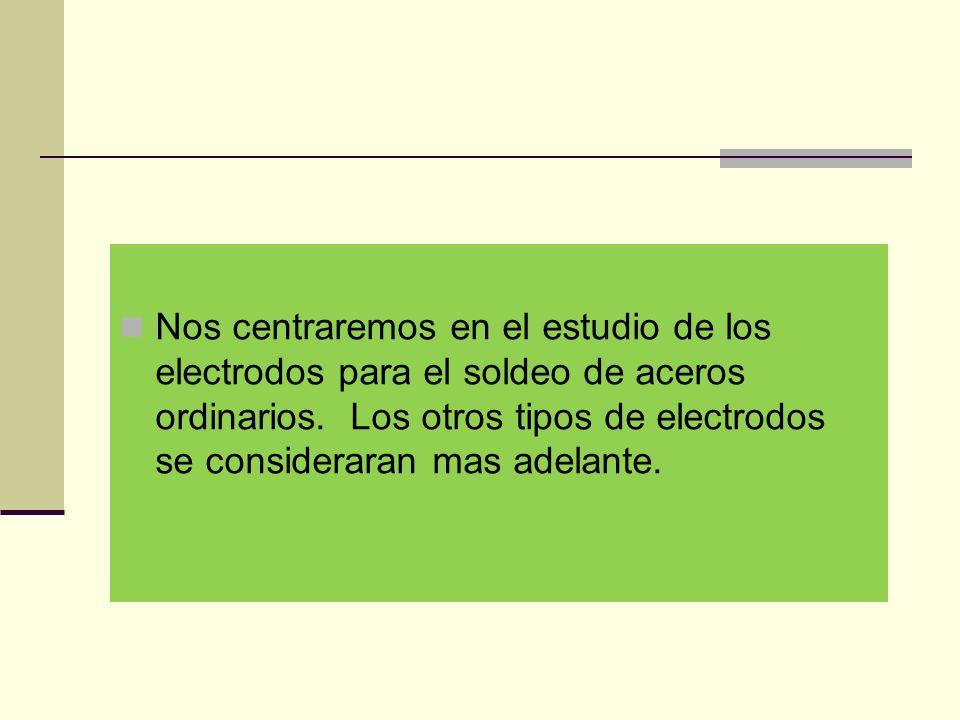 Nos centraremos en el estudio de los electrodos para el soldeo de aceros ordinarios.