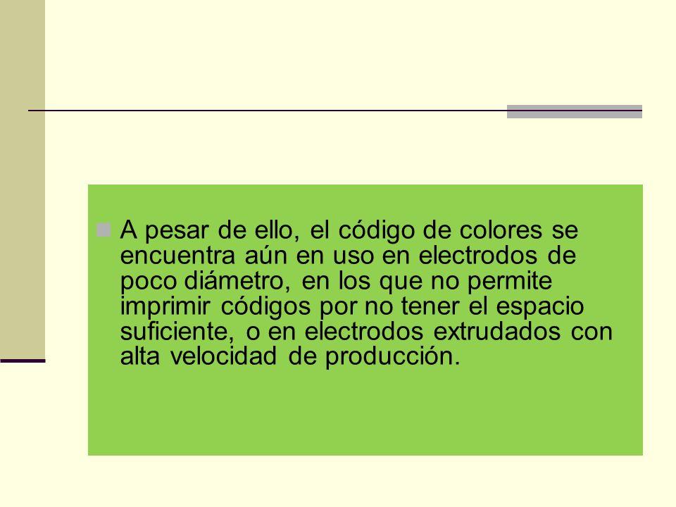 A pesar de ello, el código de colores se encuentra aún en uso en electrodos de poco diámetro, en los que no permite imprimir códigos por no tener el espacio suficiente, o en electrodos extrudados con alta velocidad de producción.