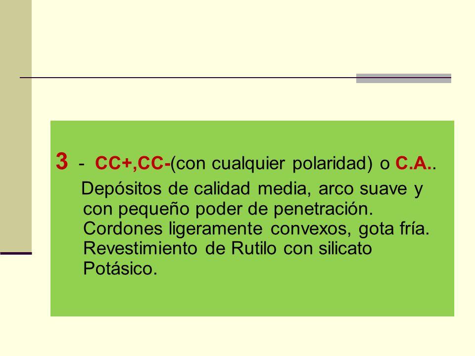 3 - CC+,CC-(con cualquier polaridad) o C.A..