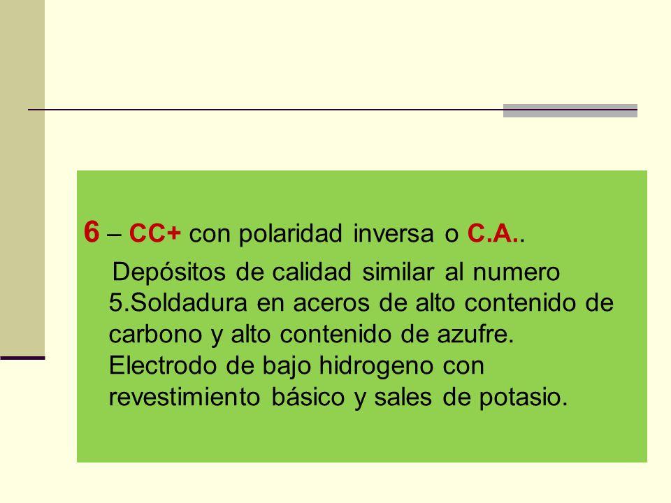 6 – CC+ con polaridad inversa o C.A..