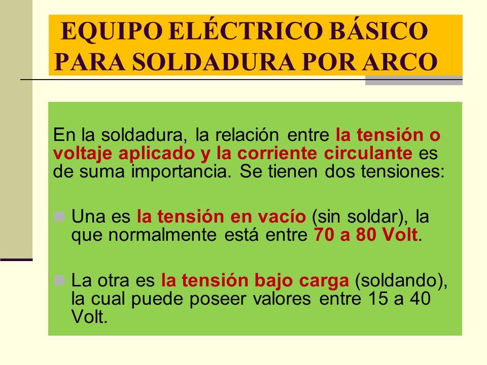 EQUIPO ELÉCTRICO BÁSICO PARA SOLDADURA POR ARCO