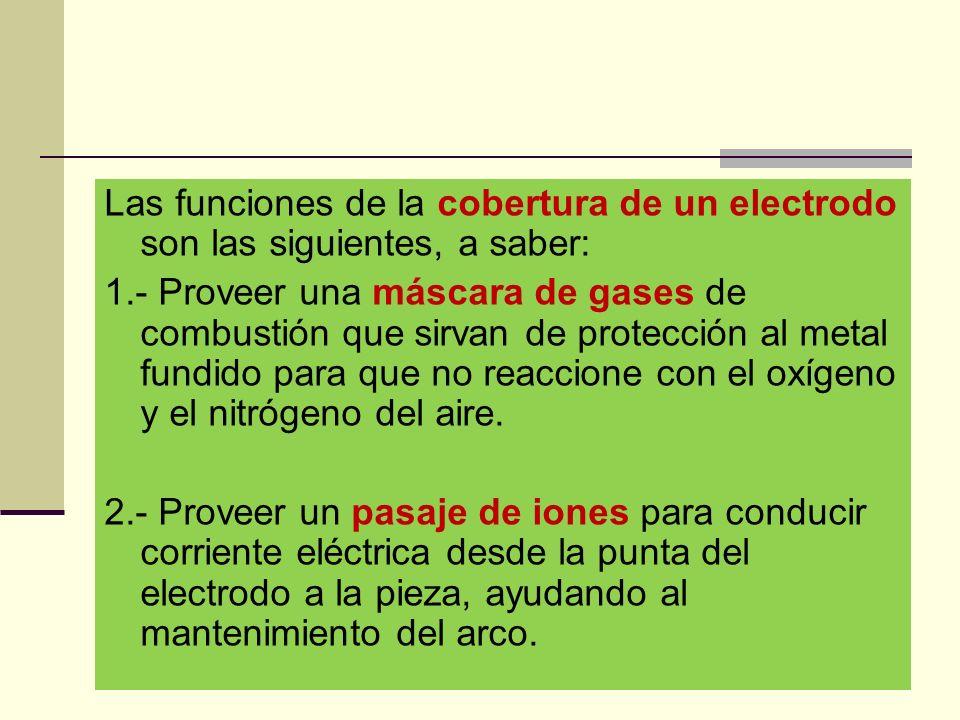 Las funciones de la cobertura de un electrodo son las siguientes, a saber: