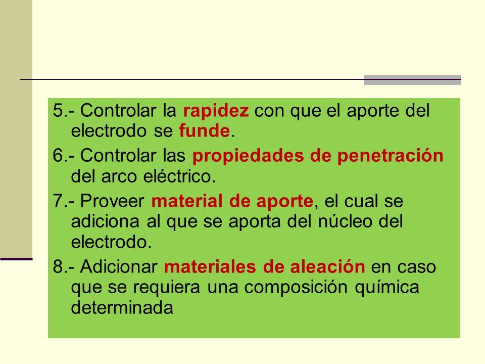 5.- Controlar la rapidez con que el aporte del electrodo se funde.