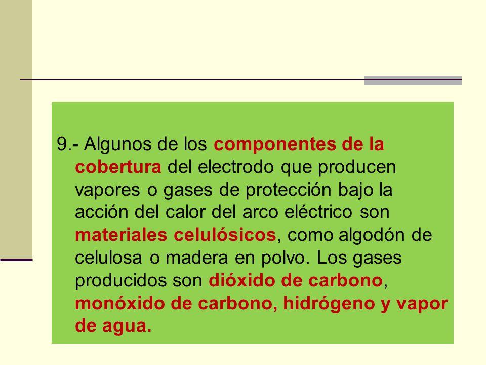 9.- Algunos de los componentes de la cobertura del electrodo que producen vapores o gases de protección bajo la acción del calor del arco eléctrico son materiales celulósicos, como algodón de celulosa o madera en polvo.
