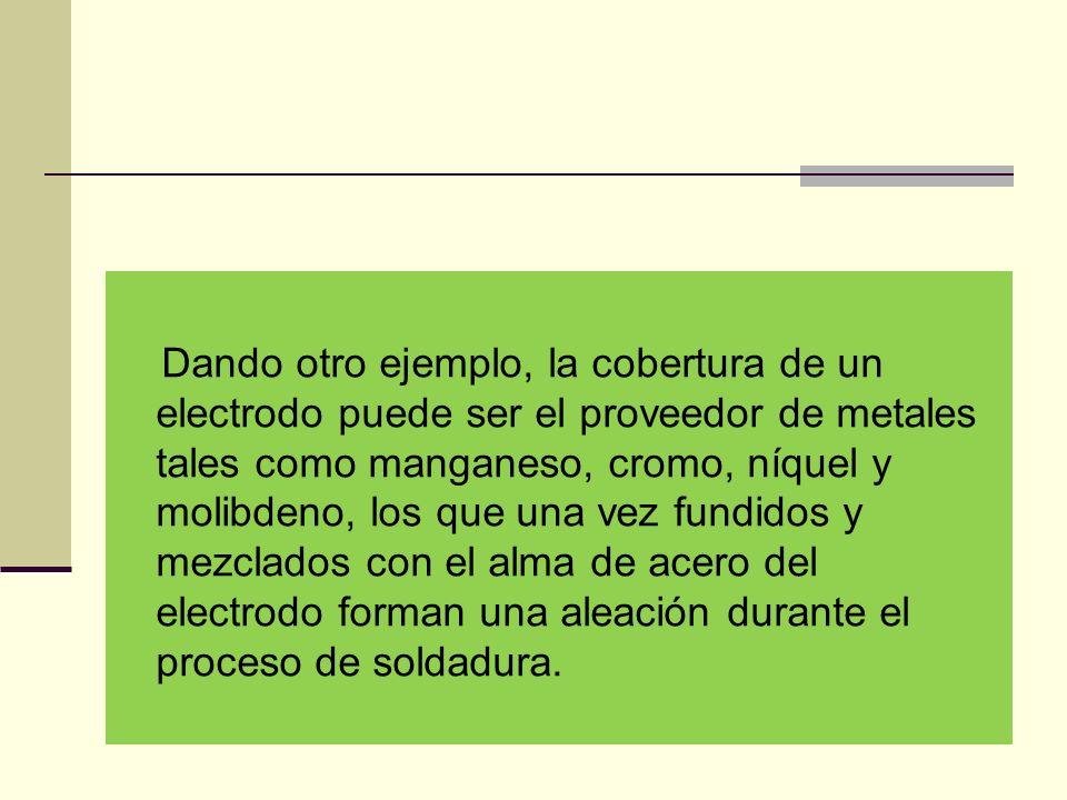 Dando otro ejemplo, la cobertura de un electrodo puede ser el proveedor de metales tales como manganeso, cromo, níquel y molibdeno, los que una vez fundidos y mezclados con el alma de acero del electrodo forman una aleación durante el proceso de soldadura.