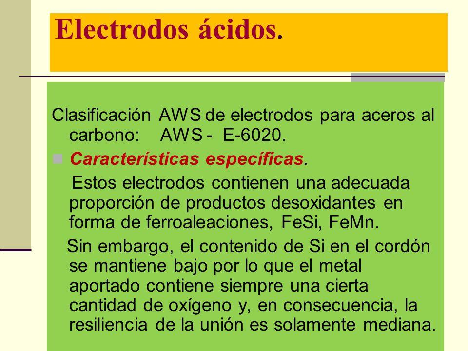 Electrodos ácidos. Clasificación AWS de electrodos para aceros al carbono: AWS - E-6020. Características específicas.