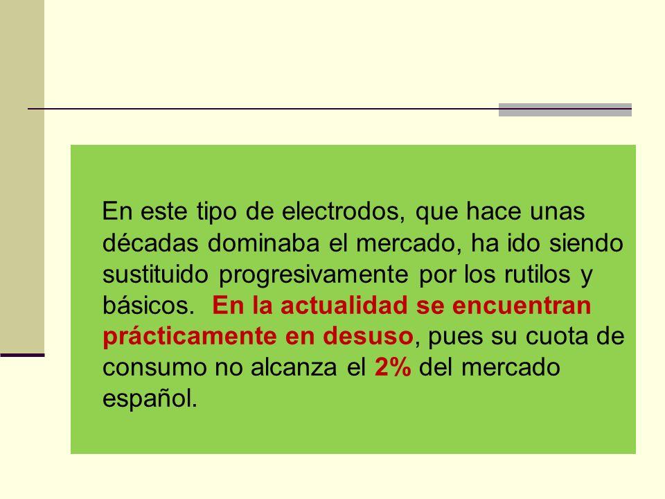 En este tipo de electrodos, que hace unas décadas dominaba el mercado, ha ido siendo sustituido progresivamente por los rutilos y básicos.