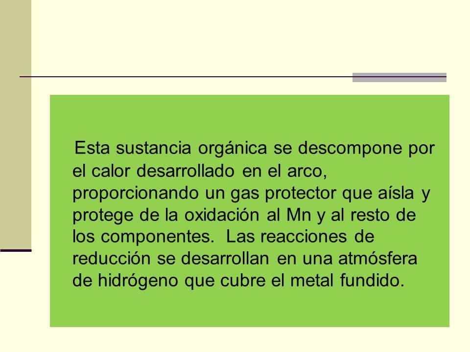 Esta sustancia orgánica se descompone por el calor desarrollado en el arco, proporcionando un gas protector que aísla y protege de la oxidación al Mn y al resto de los componentes.