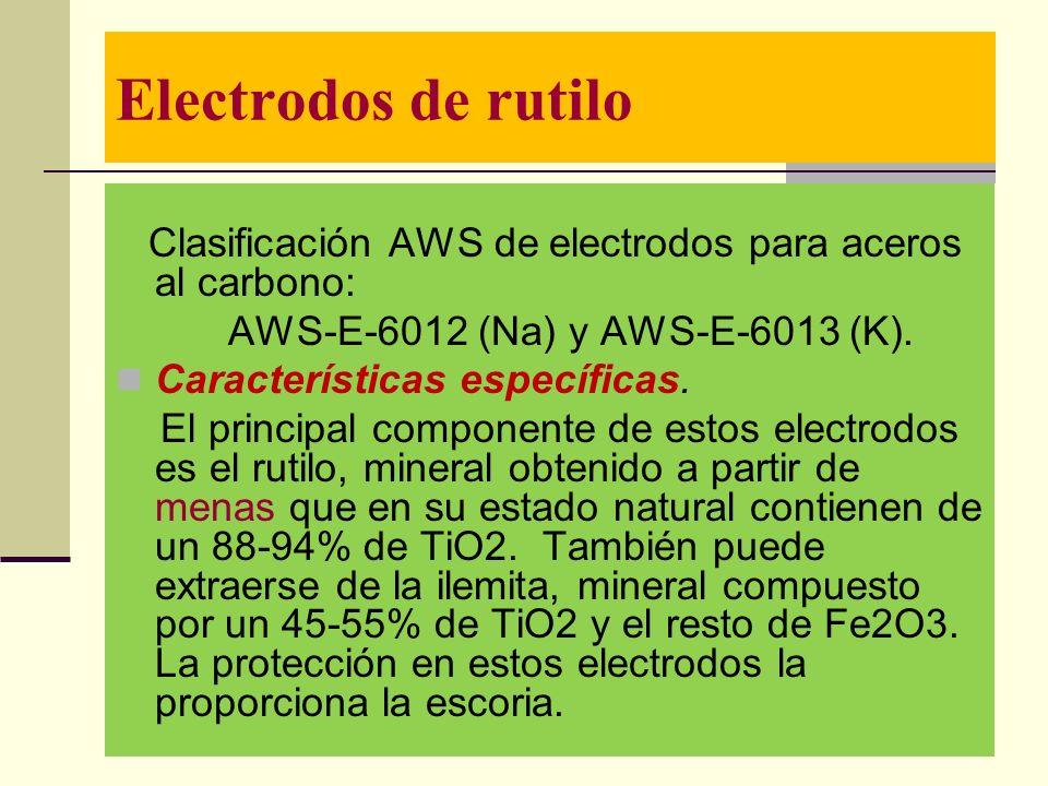 Electrodos de rutilo AWS-E-6012 (Na) y AWS-E-6013 (K).