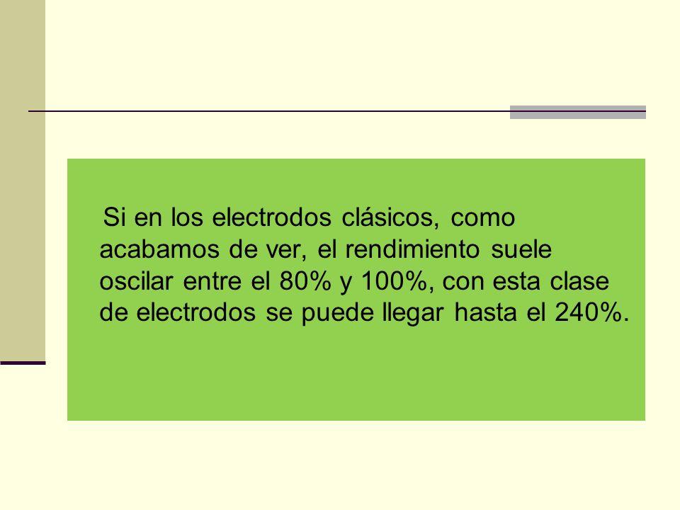 Si en los electrodos clásicos, como acabamos de ver, el rendimiento suele oscilar entre el 80% y 100%, con esta clase de electrodos se puede llegar hasta el 240%.