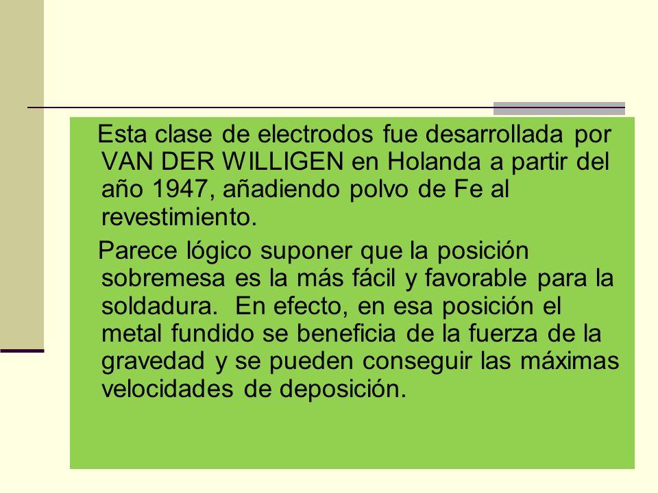 Esta clase de electrodos fue desarrollada por VAN DER WILLIGEN en Holanda a partir del año 1947, añadiendo polvo de Fe al revestimiento.