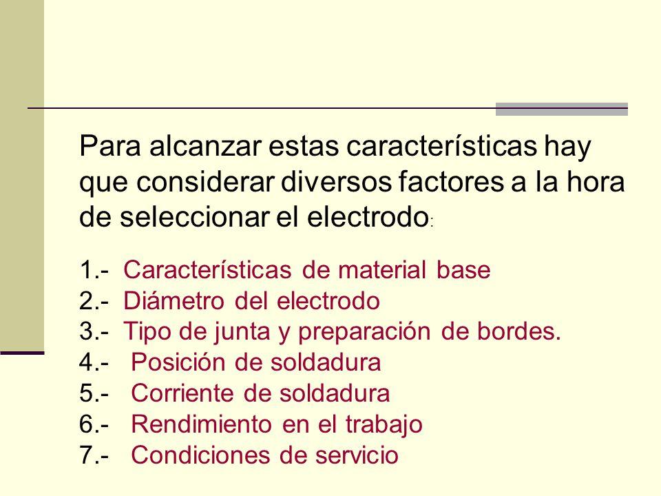 Para alcanzar estas características hay que considerar diversos factores a la hora de seleccionar el electrodo: