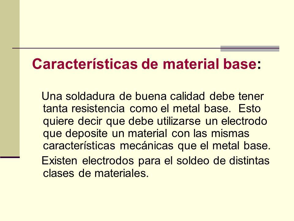 Características de material base:
