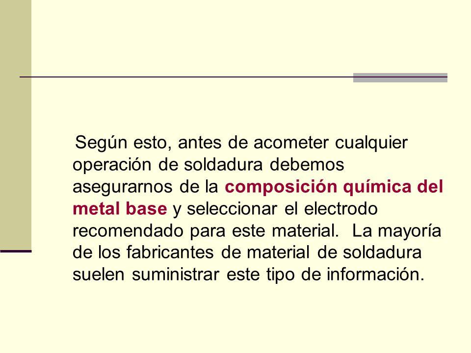 Según esto, antes de acometer cualquier operación de soldadura debemos asegurarnos de la composición química del metal base y seleccionar el electrodo recomendado para este material.