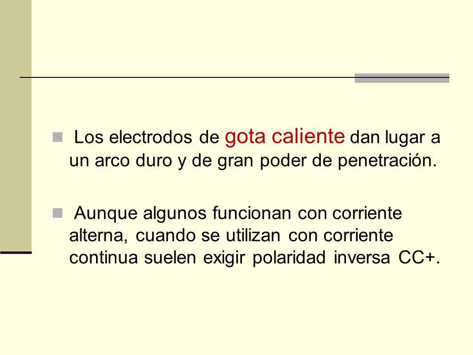 Los electrodos de gota caliente dan lugar a un arco duro y de gran poder de penetración.