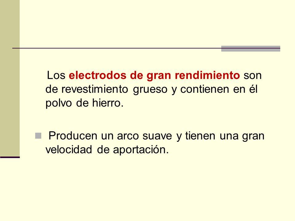 Los electrodos de gran rendimiento son de revestimiento grueso y contienen en él polvo de hierro.