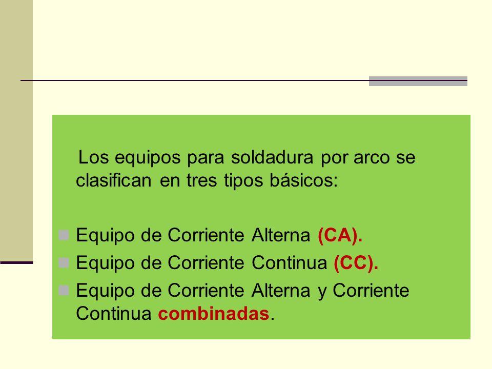 Los equipos para soldadura por arco se clasifican en tres tipos básicos: