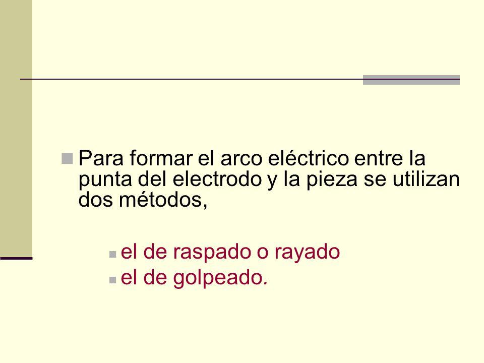 Para formar el arco eléctrico entre la punta del electrodo y la pieza se utilizan dos métodos,