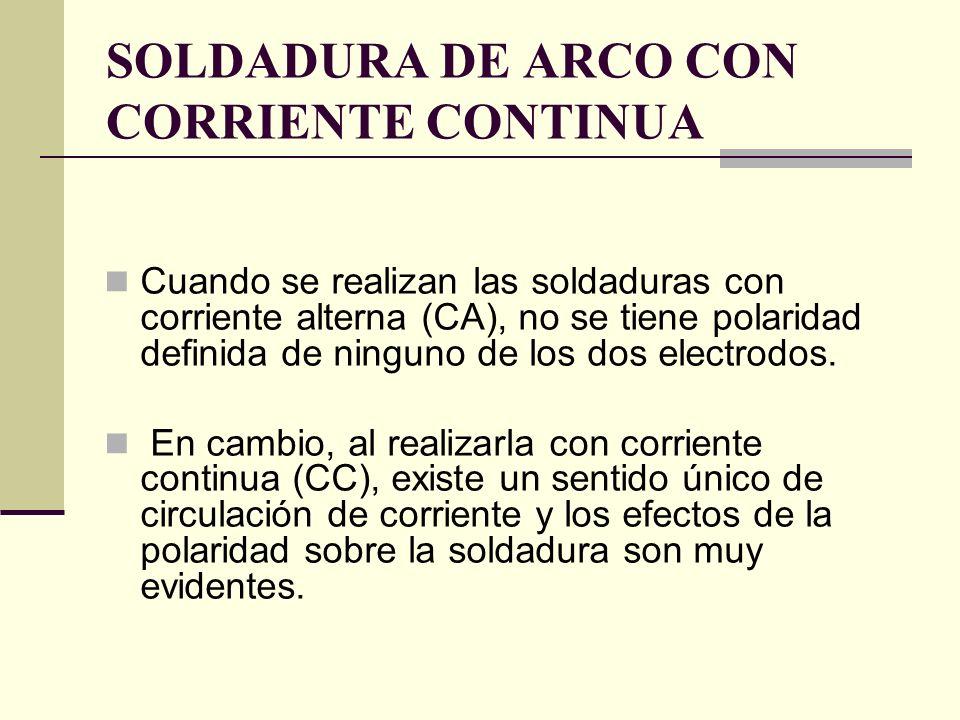 SOLDADURA DE ARCO CON CORRIENTE CONTINUA