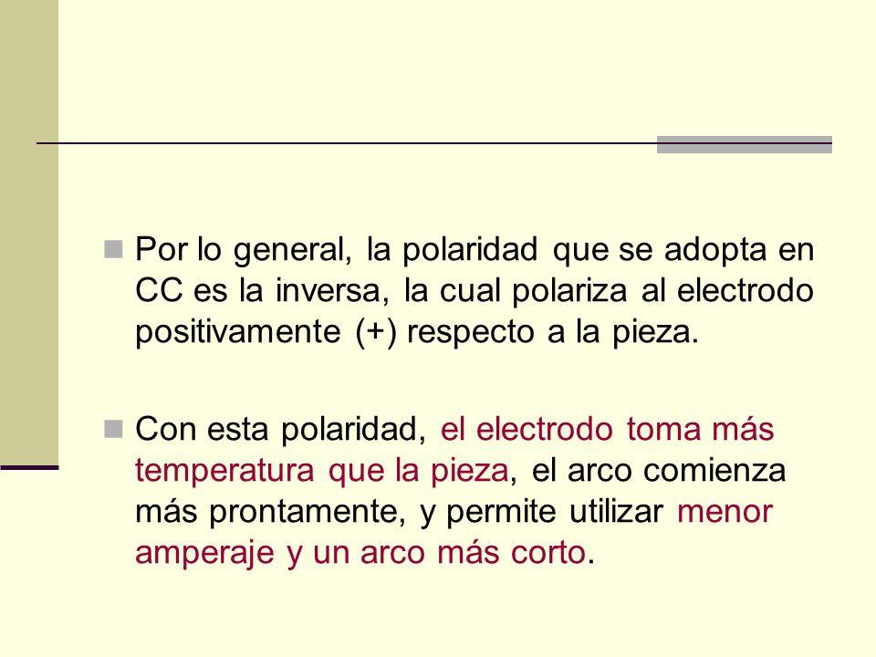 Por lo general, la polaridad que se adopta en CC es la inversa, la cual polariza al electrodo positivamente (+) respecto a la pieza.
